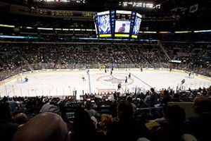 The Bank Atlantic Center, half-empty, during a 2009 contest with the hometown Florida Panthers taking on the Pittsburgh Penguins.